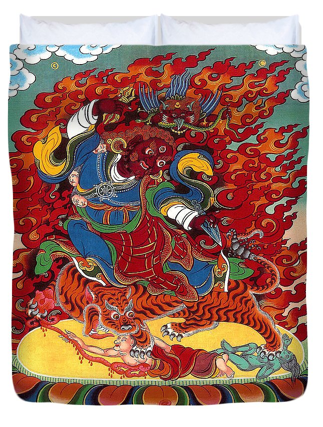 Thangka Duvet Cover featuring the painting Dudjom's Dorje Drollo by Sergey Noskov