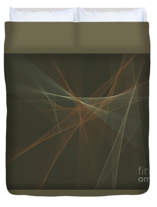 Abstract Duvet Cover featuring the digital art Dust Computer Graphic Line Pattern by Frank Ramspott