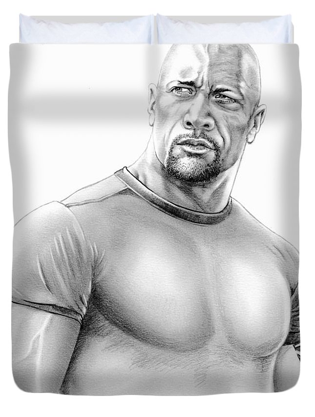 Pencil Duvet Cover featuring the drawing Dwayne Johnson by Murphy Elliott