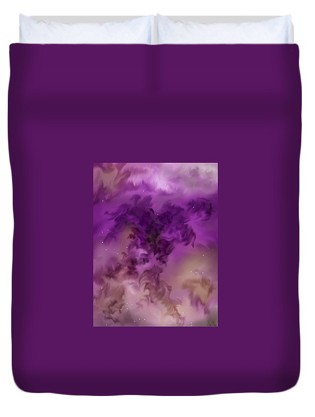 Starscape Duvet Cover featuring the painting Eagle Nebula From The Hubble by Anne Norskog