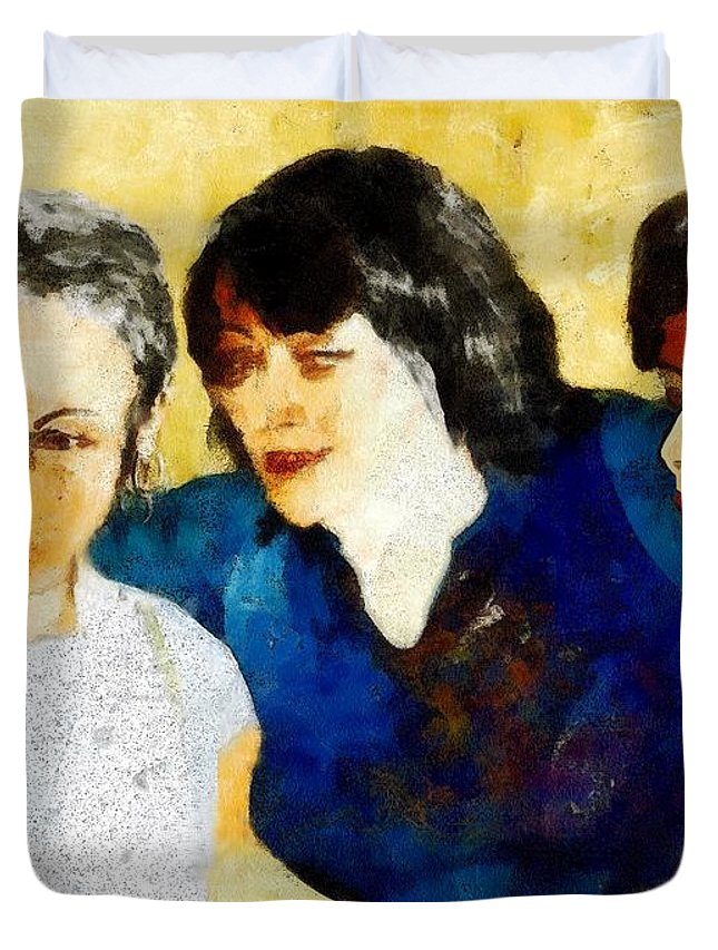 Characters Duvet Cover featuring the painting Eastwick Revisited by RC DeWinter