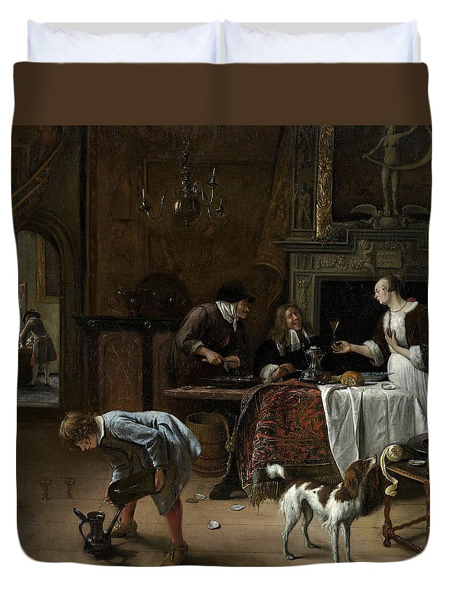 Animal Duvet Cover featuring the painting Easy Come, Easy Go by Jan Steen