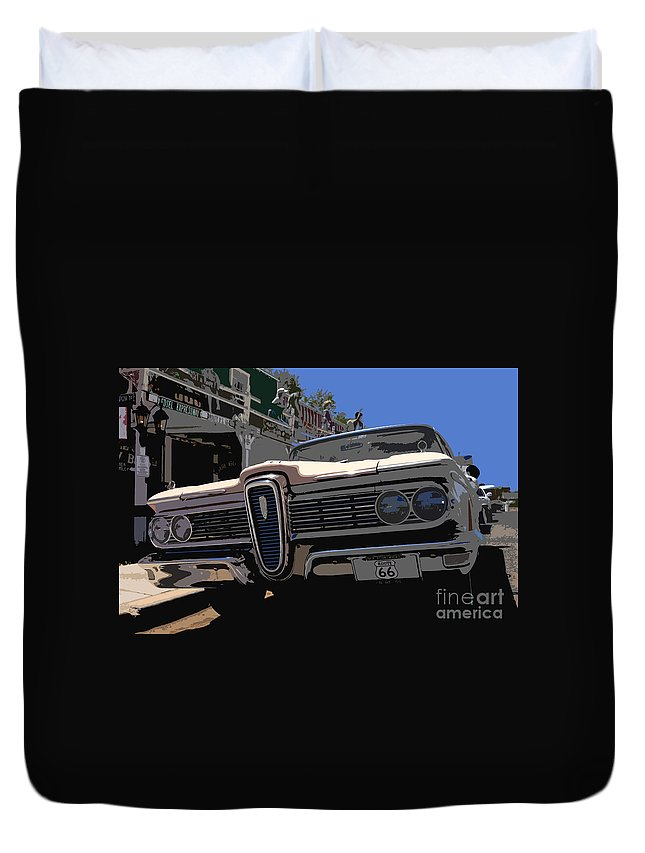 Route 66 Duvet Cover featuring the painting Edsel On Route 66 by David Lee Thompson