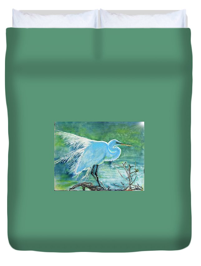 Egret Duvet Cover featuring the painting Egret In The Summer Breeze by Dawn Johansen