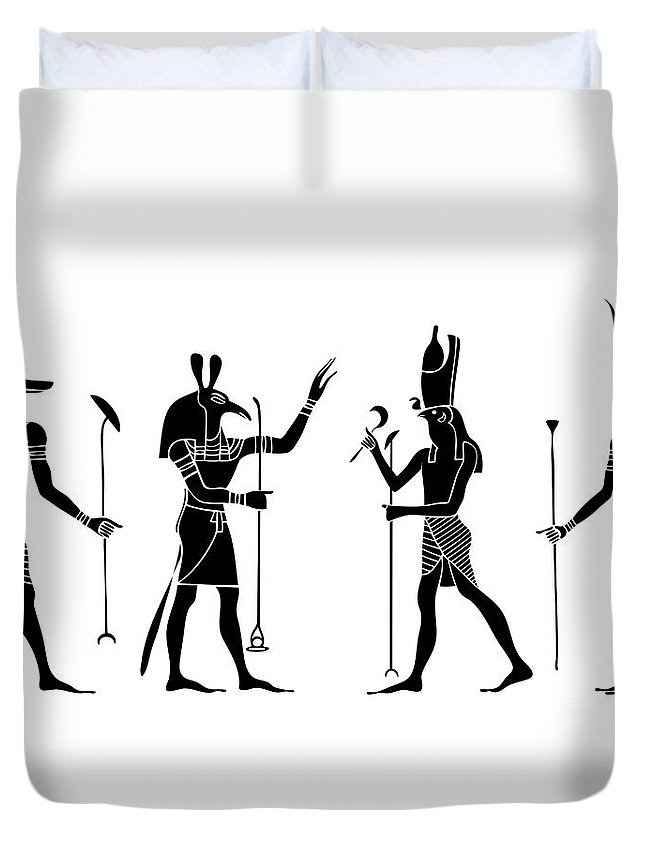 Africa Duvet Cover featuring the digital art Egyptian Gods by Michal Boubin