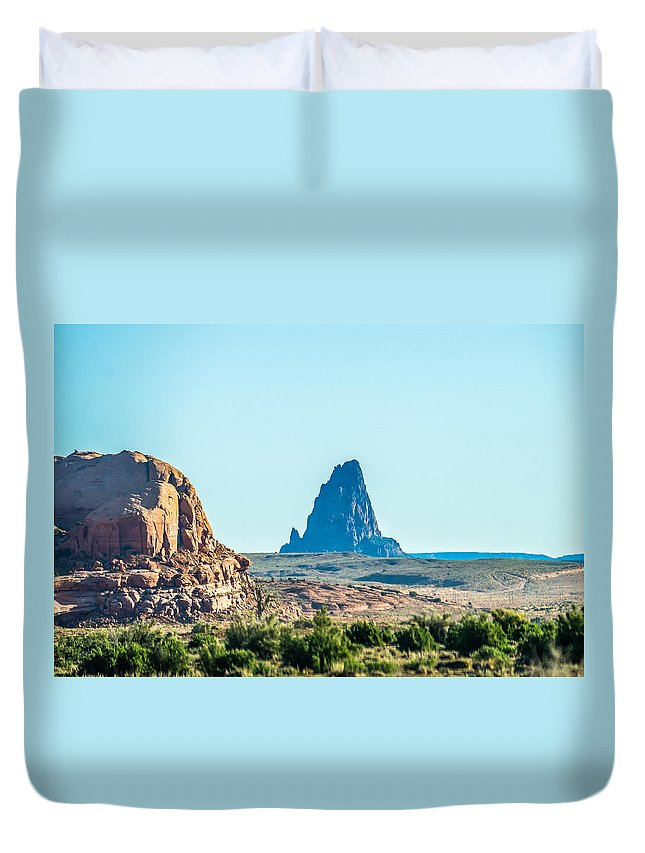 Deserts Duvet Cover featuring the photograph El Capitan Peak Just North Of Kayenta Arizona In Monument Valley by Alex Grichenko