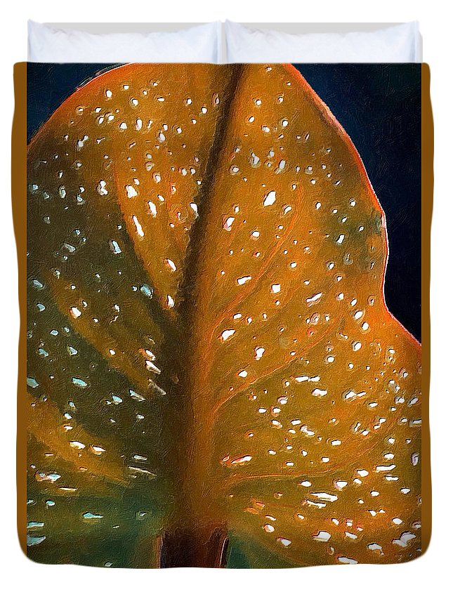 Painted Photo Duvet Cover featuring the painting Elephant Ear by Bonnie Bruno