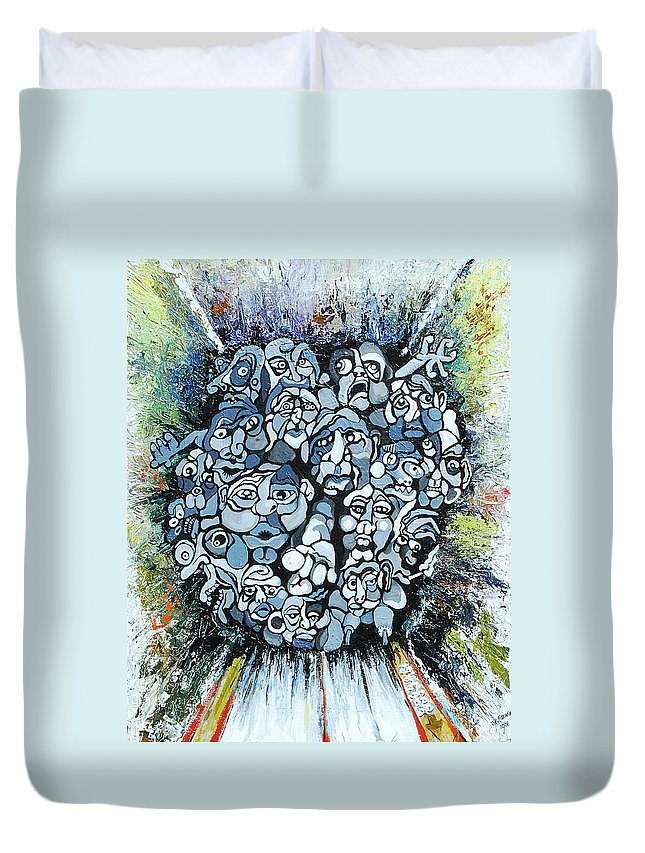 Surreal Duvet Cover featuring the painting Elevator by Julie Fischer