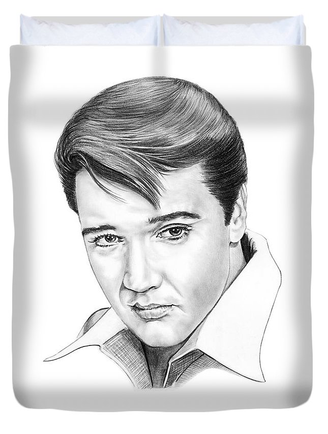 Portrait Duvet Cover featuring the drawing Elvis Presley by Murphy Elliott