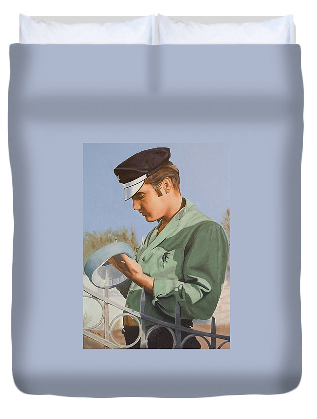 Singer Duvet Cover featuring the painting Elvis Presley by Rob De Vries