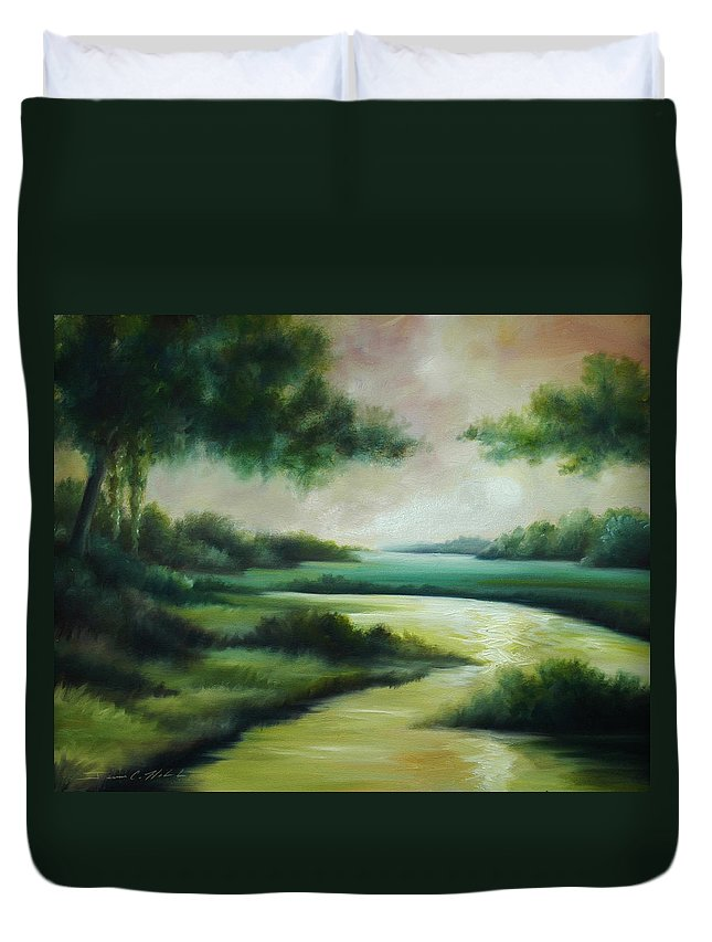 Bright Clouds; Sunsets; Reflections; Ocean; Water; Purple; Orange; Storms; Lightning; Contemporary; Abstract; Realism; James Christopher Hill; James Hill Studios; James C. Hilll; Forest; Flowers; Trees; Green; River; Water Duvet Cover featuring the painting Emerald Forest by James Christopher Hill