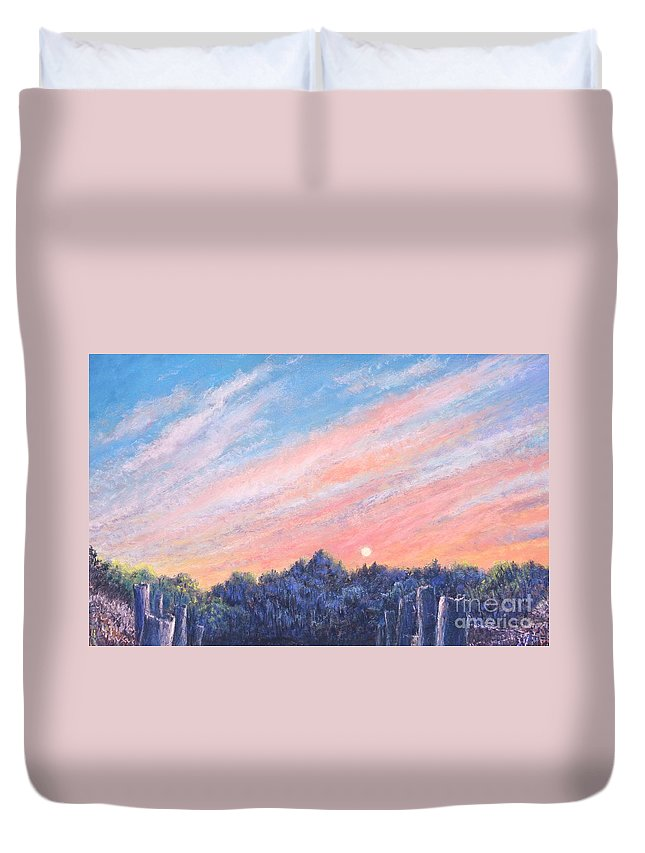 Vibrant Paintings Duvet Cover featuring the painting enchanced Catching the Sunset by Penny Neimiller