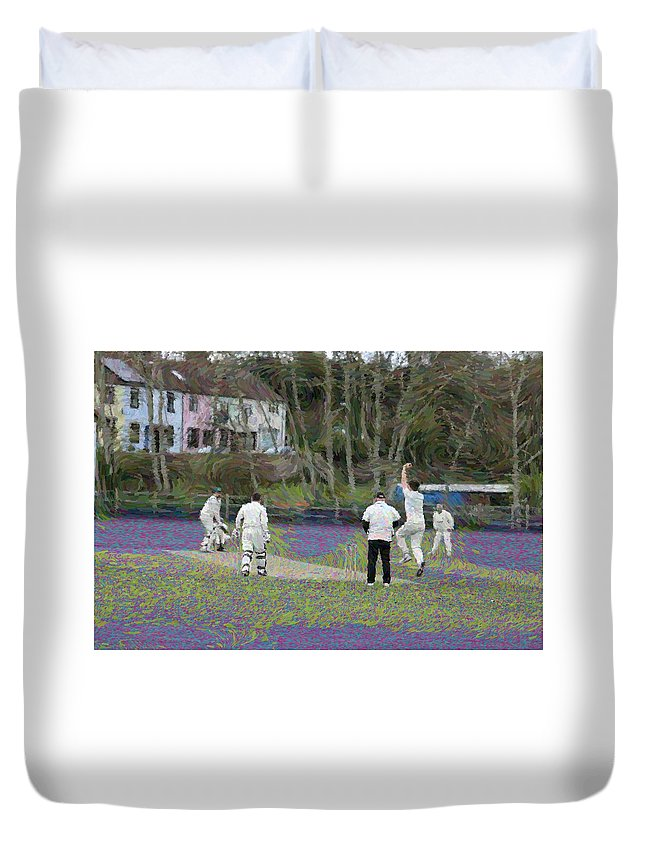 England Club Cricket Duvet Cover featuring the photograph England Club Cricket by Zahra Majid