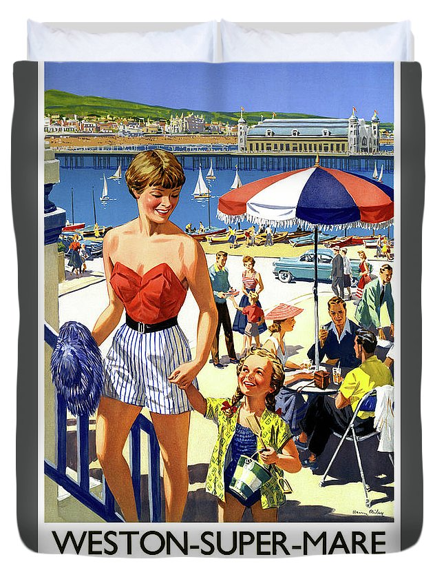 Vintage Travel Duvet Cover featuring the drawing England Weston Super Mare Vintage Travel Poster by Vintage Treasure