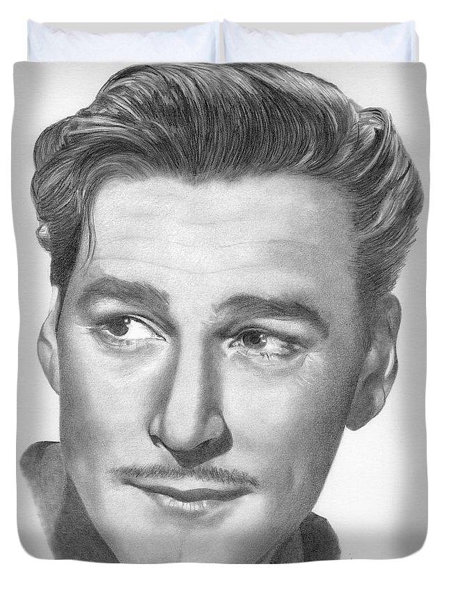 Errol Flynn Duvet Cover featuring the drawing Errol Flynn by Karen Townsend