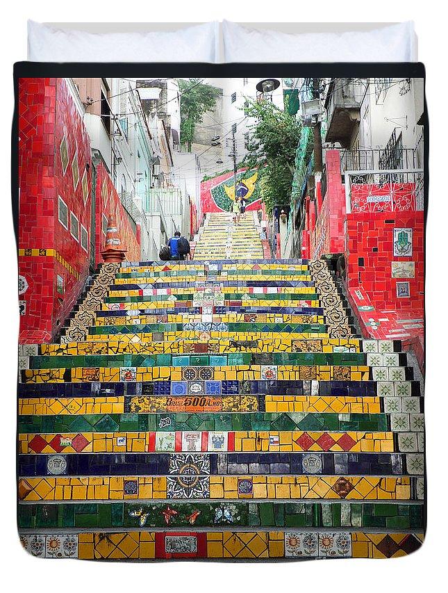 Escadaria Selaron Duvet Cover featuring the photograph Escadaria Selaron In Rio De Janeiro by Ralf Broskvar