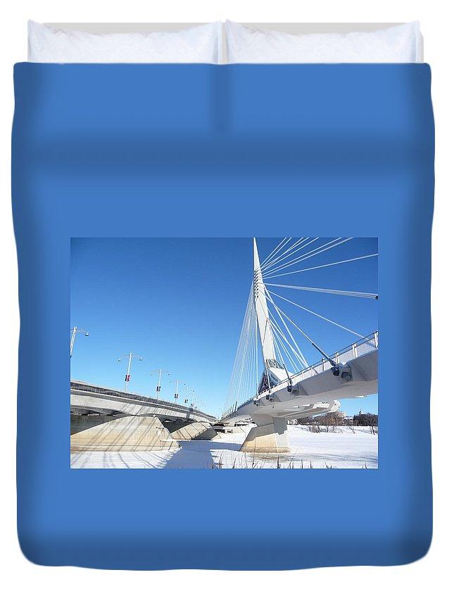 Bridge Duvet Cover featuring the photograph Esplanade Riel by Ruth Kamenev