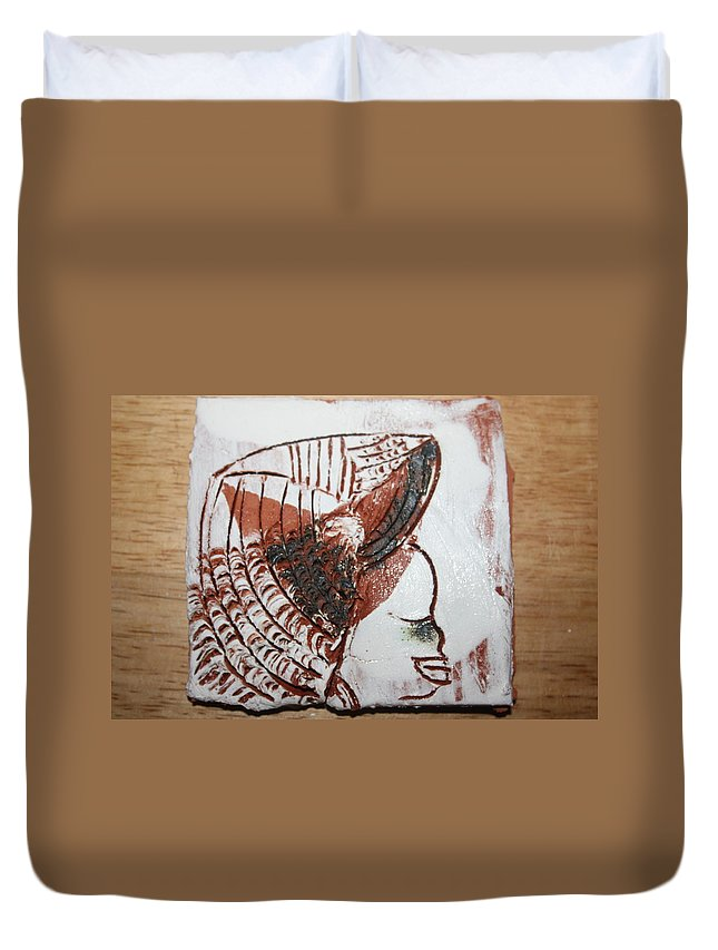 Jesus Duvet Cover featuring the ceramic art Eugenie - Tile by Gloria Ssali