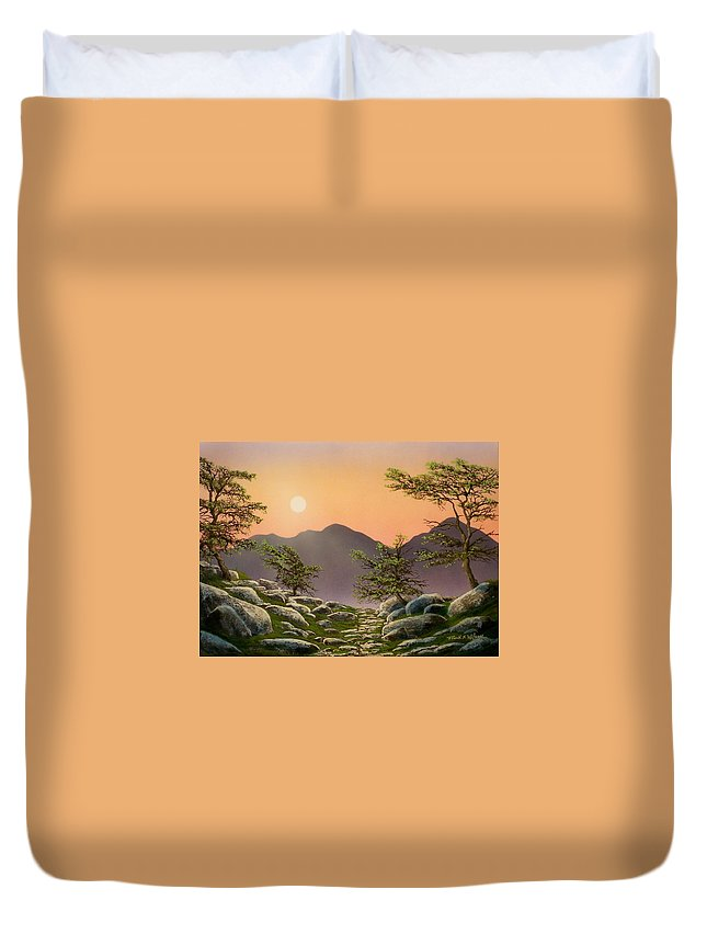 Evening Moonrise Duvet Cover featuring the painting Evening Moonrise by Frank Wilson