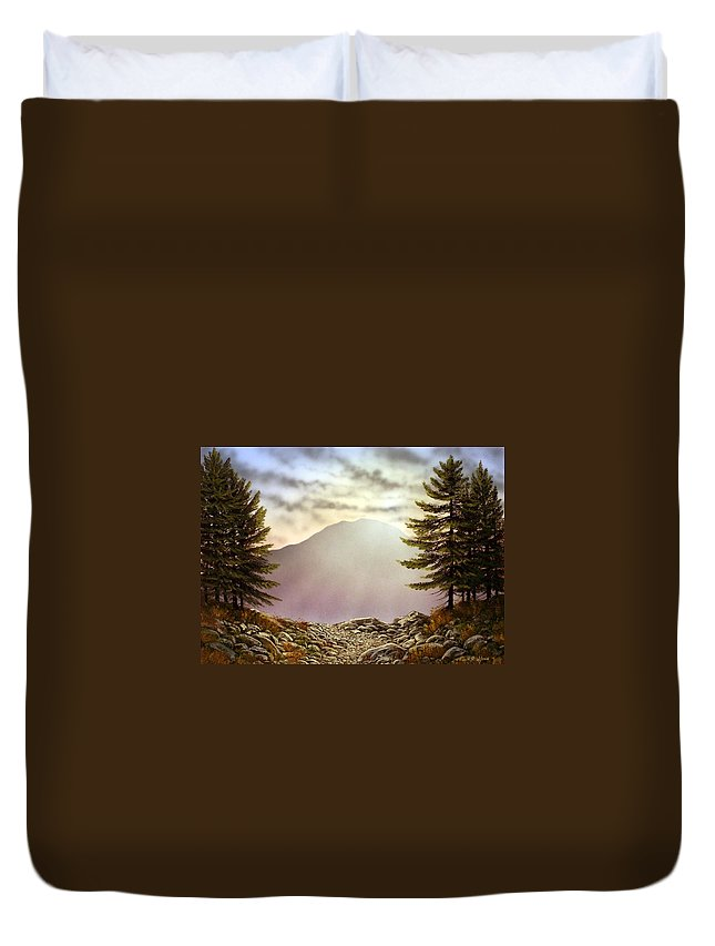 Mountains Duvet Cover featuring the painting Evening Trail by Frank Wilson