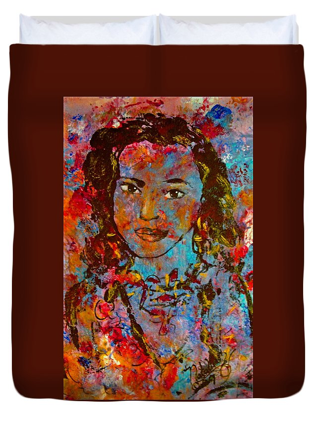 Princess Duvet Cover featuring the painting Exotic Princess by Natalie Holland