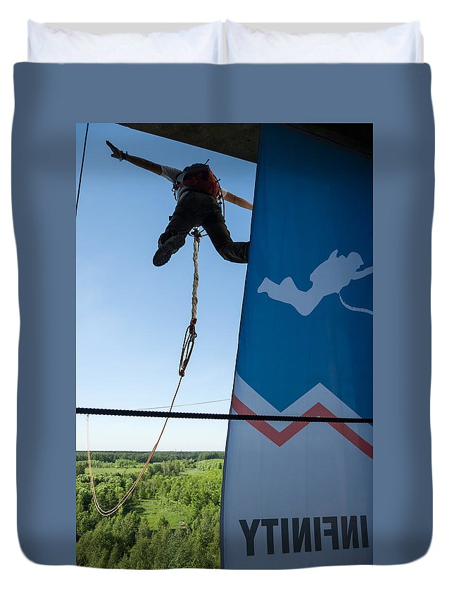 Abandoned Duvet Cover featuring the photograph Extreme Sports Ropejumping by Nikita Buida