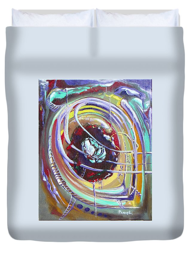 Duvet Cover featuring the painting Eye Stablished by Paintings by Parish
