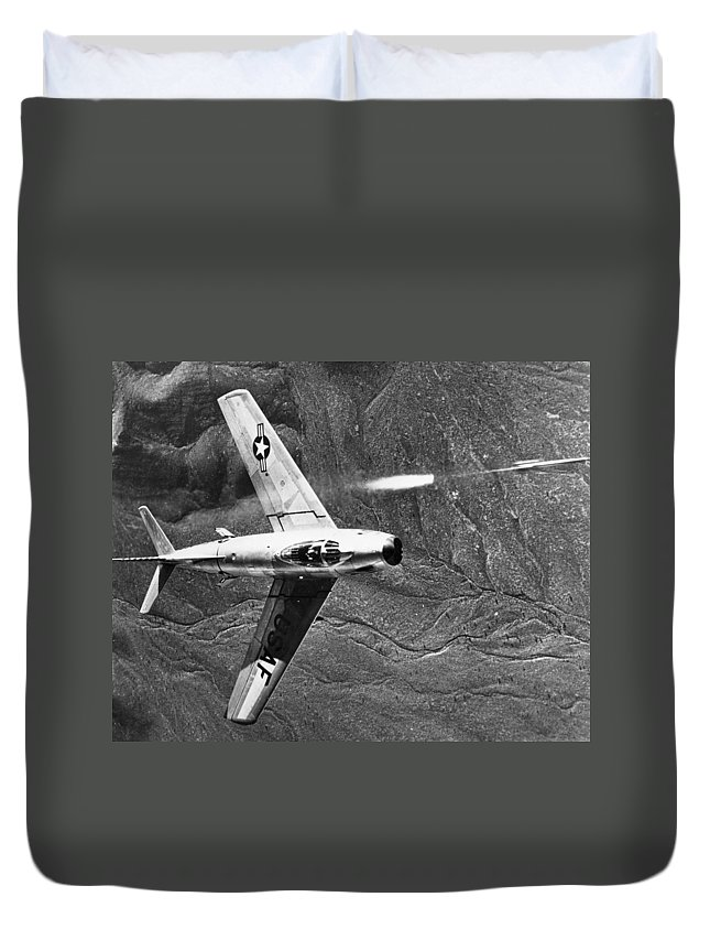 1951 Duvet Cover featuring the photograph F-86 Jet Fighter Plane by Granger