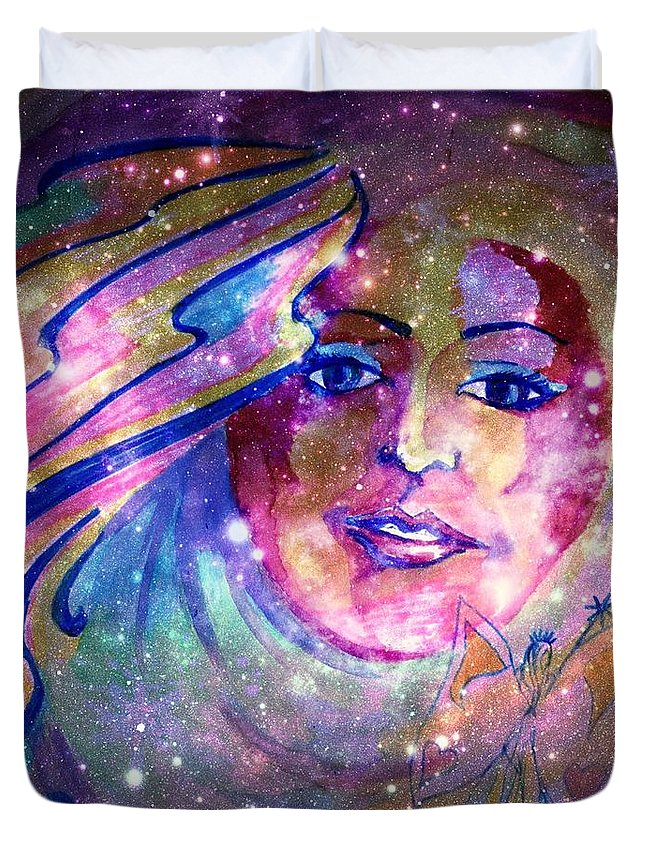 Fairy Duvet Cover featuring the mixed media Faerie by Leanne Seymour