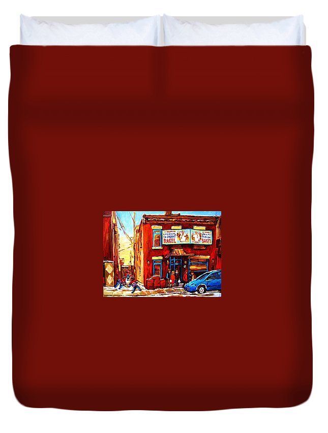 Hockey Duvet Cover featuring the painting Fairmount Bagel In Winter by Carole Spandau