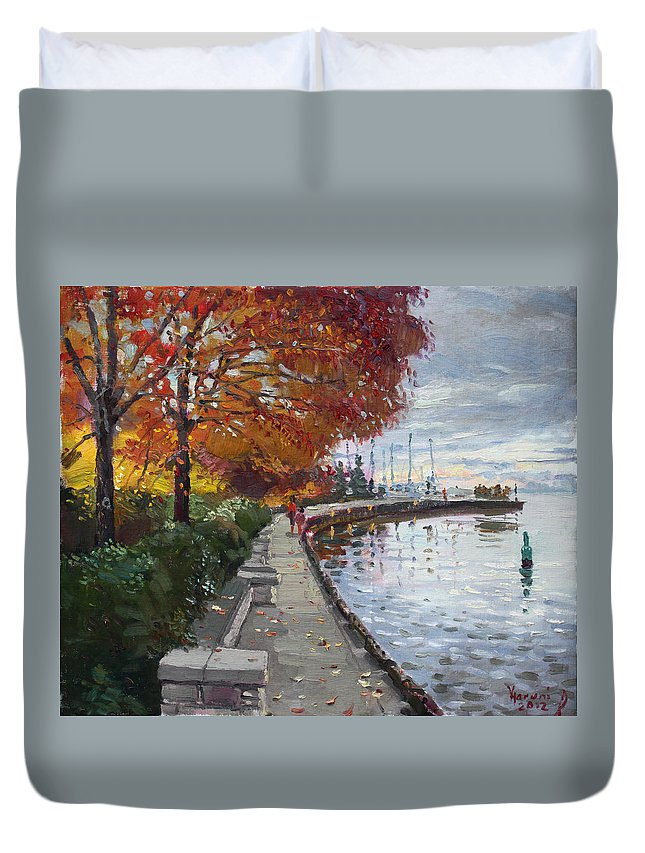 Port Credit Duvet Cover featuring the painting Fall In Port Credit On by Ylli Haruni