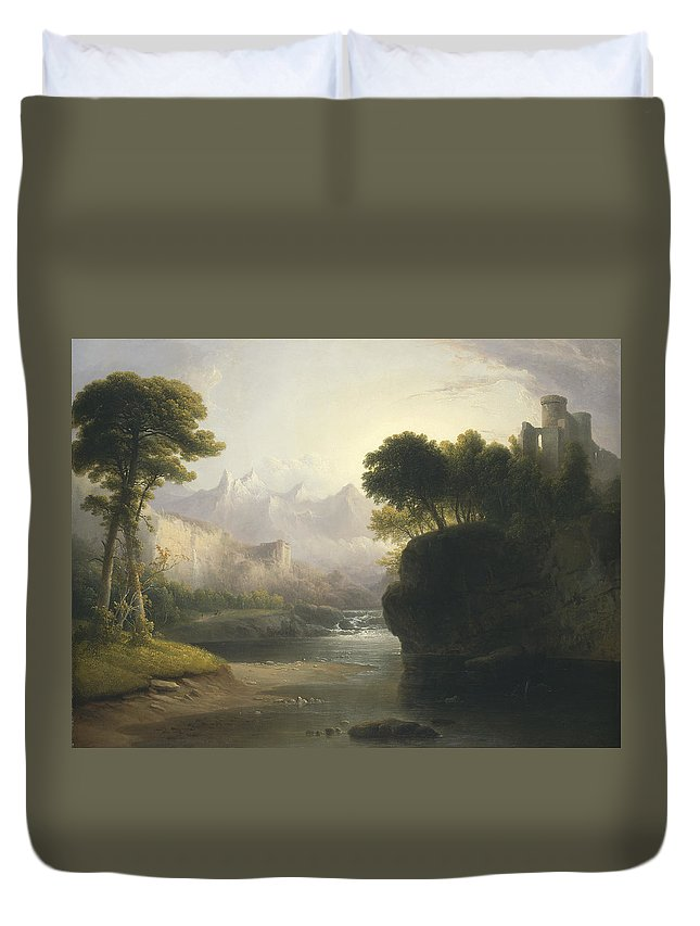 Art Duvet Cover featuring the painting Fanciful Landscape by Thomas Doughty