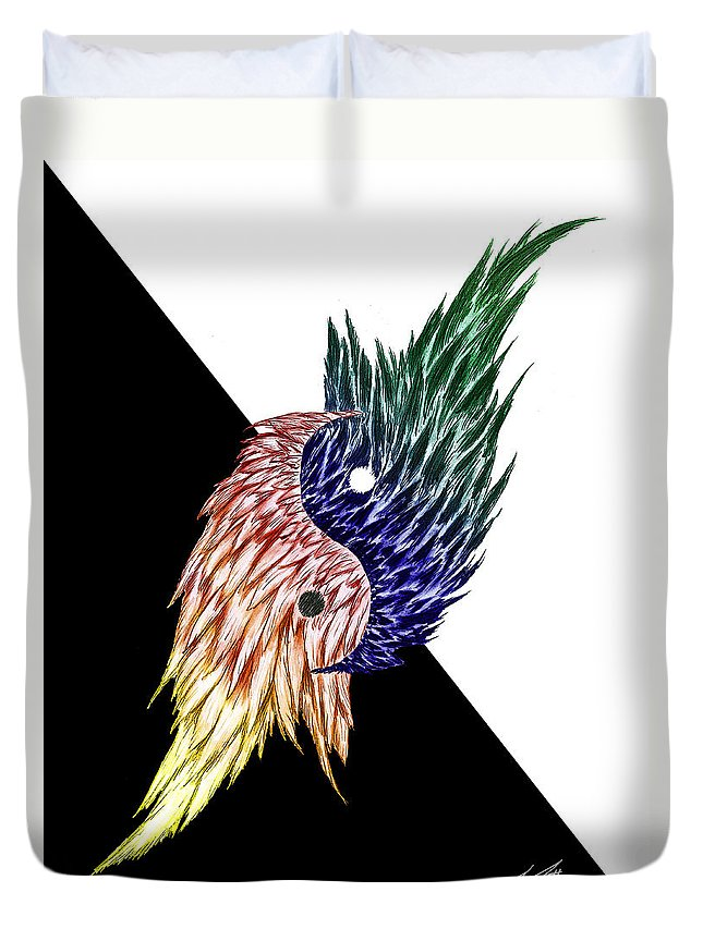 Feathers Duvet Cover featuring the digital art Feathered Ying Yang by Peter Piatt