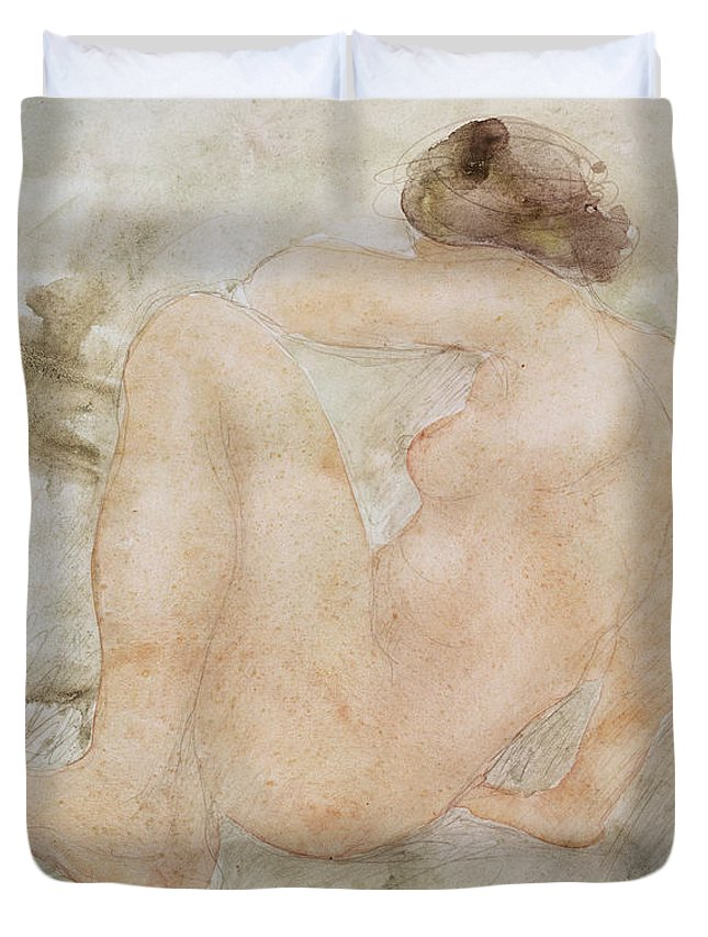 Rodin Duvet Cover featuring the painting Female Nude by Auguste Rodin