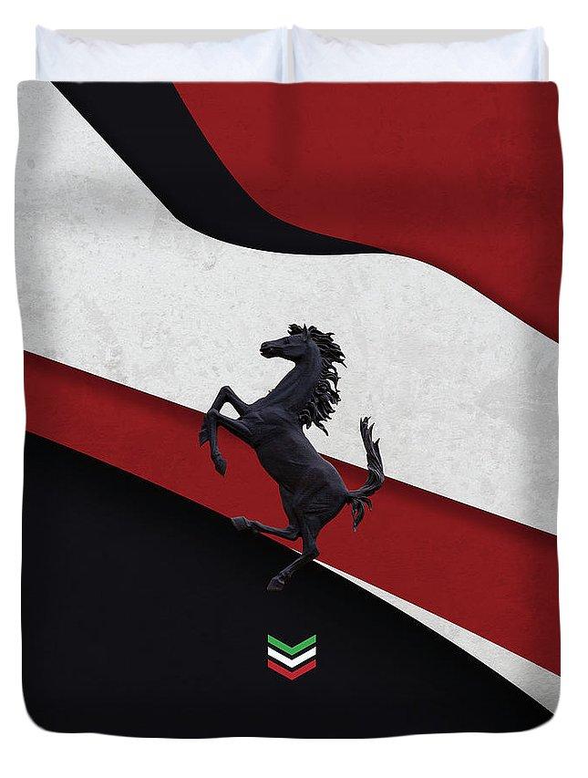 Italy Duvet Cover featuring the digital art Ferrari Blend by Srdjan Petrovic