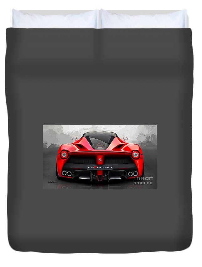 Ferrari Duvet Cover featuring the mixed media Ferrari La Ferrari by Garland Johnson