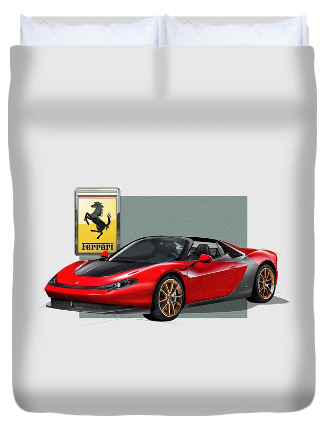 �ferrari� Collection By Serge Averbukh Duvet Cover featuring the photograph Ferrari Sergio With 3d Badge by Serge Averbukh