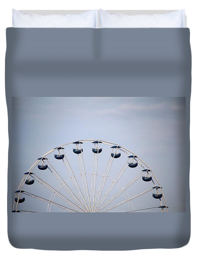 Clouds Sky Ferris Wheel Built Structure Ride Half Circle Ocean City Maryland Summertime Duvet Cover featuring the photograph Ferris Wheel by Scott Burd