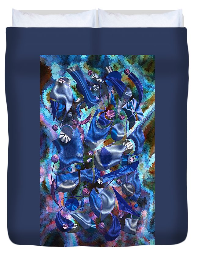Abstract Duvet Cover featuring the digital art Festive Joy by Mark Sellers
