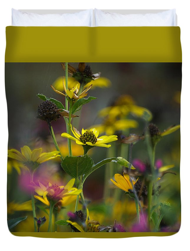 Ann Keisling Duvet Cover featuring the photograph Field Of Flowers by Ann Keisling