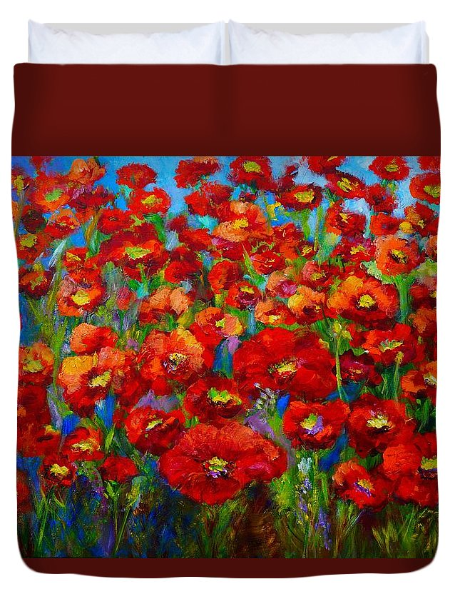Poppies. Red Flowers. Zorad Art Duvet Cover featuring the painting Field Of Poppies by Mary Jo Zorad