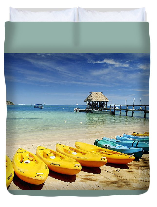 Afternoon Duvet Cover featuring the photograph Fiji, Malolo Island by Himani - Printscapes