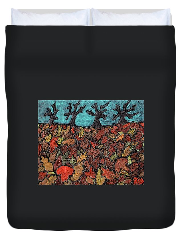 Leaves Duvet Cover featuring the painting Finding Autumn Leaves by Wayne Potrafka