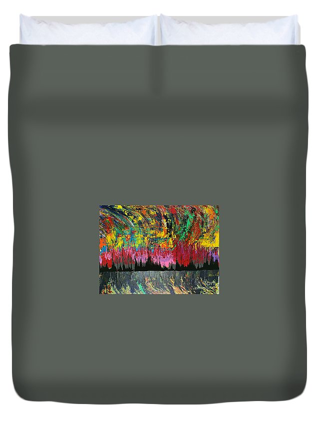 Original Duvet Cover featuring the painting Fire Dance by Yueer Xu