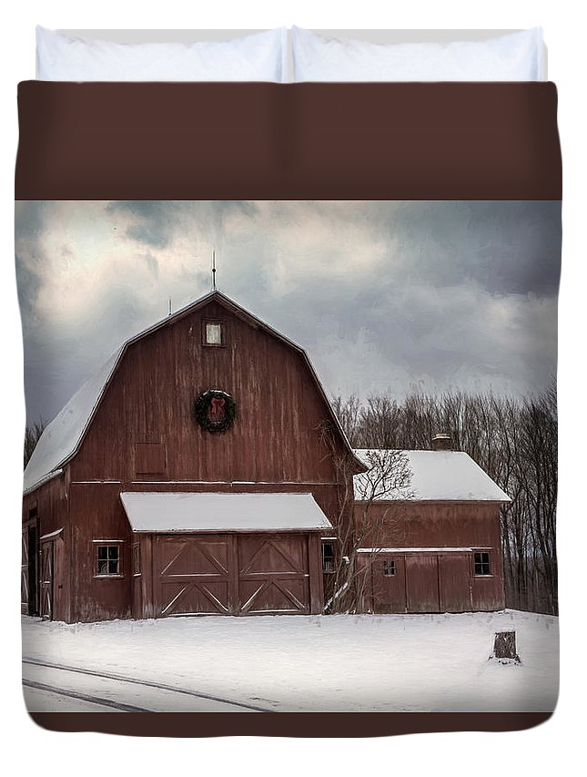 Barn Duvet Cover featuring the photograph First Snow by Guy Whiteley