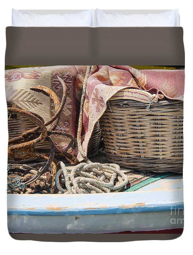 Cunda Island Turkey Boat Fishing Boats Basket Baskets Odds And Ends Duvet Cover featuring the photograph Fishing Baskets by Bob Phillips