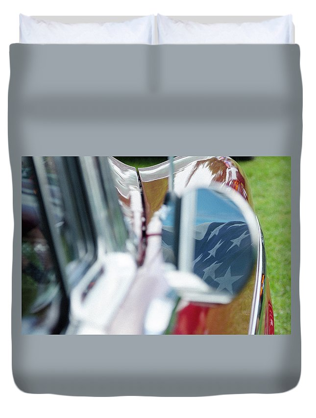 Gaetano Chieffo Duvet Cover featuring the photograph Flag In The 1955 Chevy Bel Air by Gaetano Chieffo