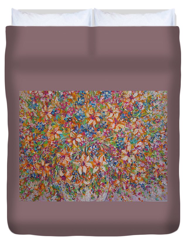 Flowers Duvet Cover featuring the painting Flower Galaxy by Natalie Holland