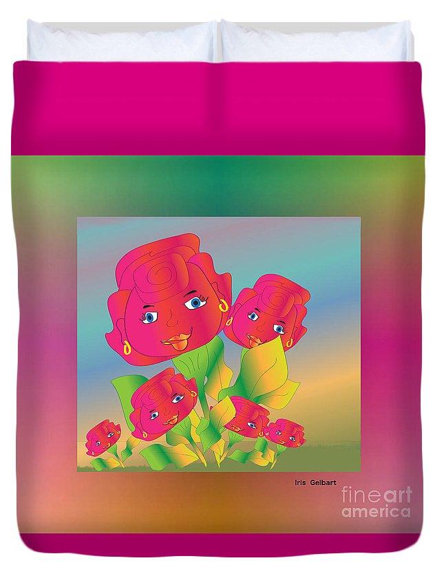 Cartoon Duvet Cover featuring the digital art Flower Power by Iris Gelbart