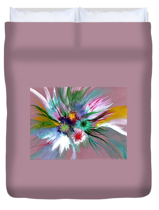 Flowers Duvet Cover featuring the painting Flowers by Anil Nene